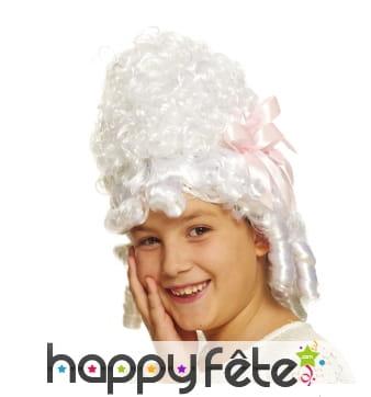 Perruque blanche de marquise pour enfant