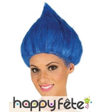 Perruque bleue de troll pour adulte
