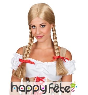 Perruque blonde d'écolière avec deux tresses
