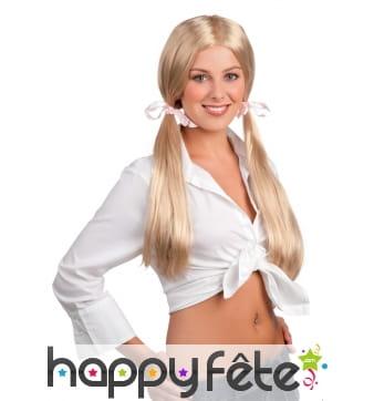 Perruque blonde d'écolière pour femme adulte