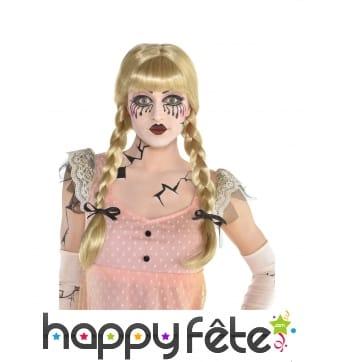 Perruque blonde de poupée avec couettes pour femme