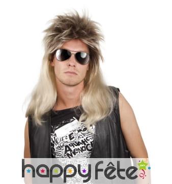 Perruque blonde de rockeur avec racines foncées