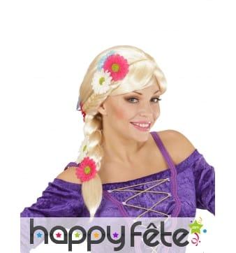 Perruque blonde décorée de fleurs avec tresse