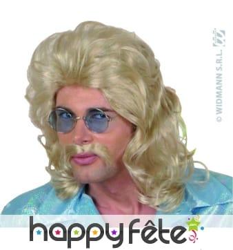 Perruque blonde des annees 70 avec moustaches