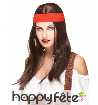 Perruque brune de pirate avec bandeau rouge