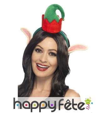 Petit bonnet d'elfe sur serre tête