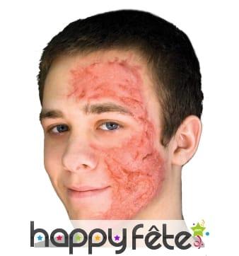Postiche brûlure de demi-visage en latex