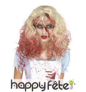 Perruque blonde ensanglantée de zombie