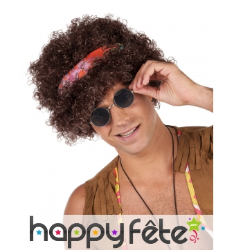 Perruque brune frisée afro style hippie