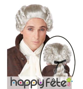 Perruque baroque grise avec noeud pour homme