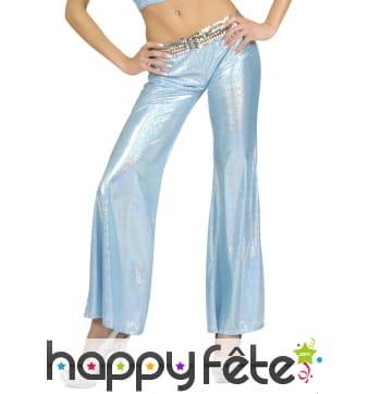Pantalon bleu holographique disco pour femme
