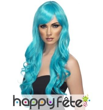 Perruque bleue longues boucles
