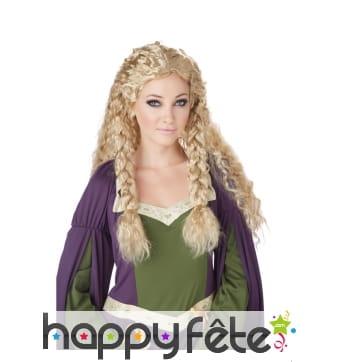 Perruque blonde médiévale boucles et tresses