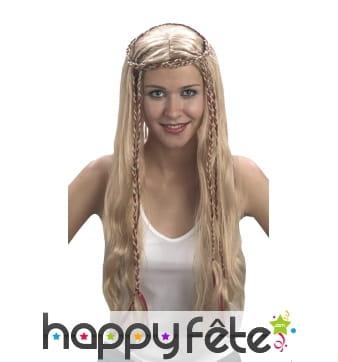 Perruque blonde médiévale lisse et fines tresses