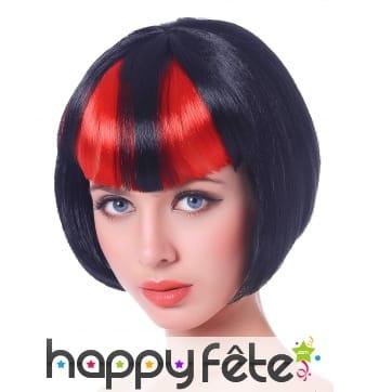 Perruque bob noire frange noire et rouge