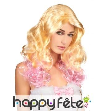 Perruque blonde ondulée avec pointes rose