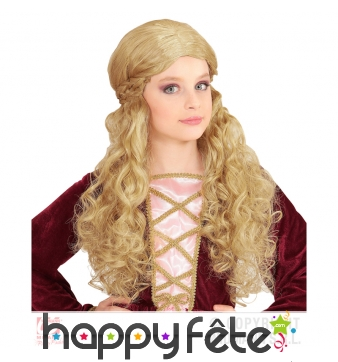 Perruque blonde ondulée style médiéval pour enfant