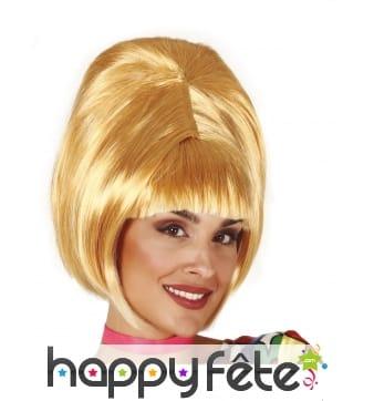 Perruque blonde rétro avec chignon pour femme