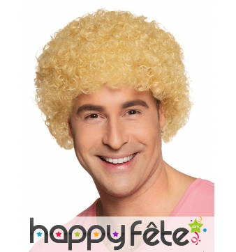 Perruque blonde style afro ou clown pour adulte