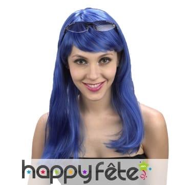 Perruque bleu uni pour femme