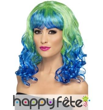 Perruque bouclée verte et bleue avec frange