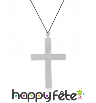 Pendentif croix argentée de 23cm