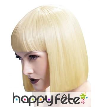 Perruque carré blond coupe droite avec frange