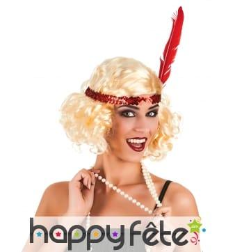 Perruque charleston blonde avec bandeau rouge