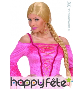 Perruque chatelaine blonde avec tresse