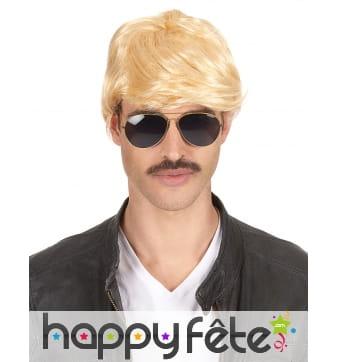 Perruque courte blonde de play boy pour homme