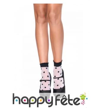 Petites chaussettes blanches à pois noirs, adulte