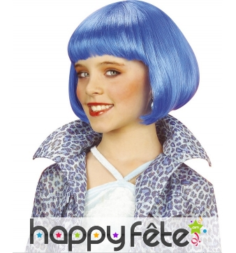 Perruque carré court bleue pour enfant