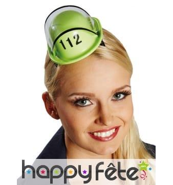 Petit casque de pompier vert pour femme