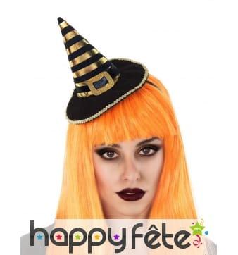 Petit chapeau de sorcière noir et doré pour femme