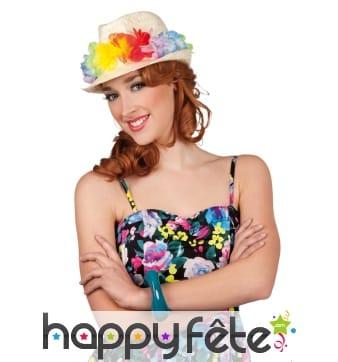 Petit chapeau Hawaï décoré de fleurs