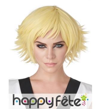 Perruque Cosplay jaune courte pour adulte
