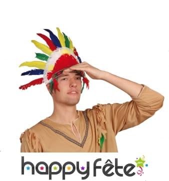 Petite coiffe multicolore d'indien