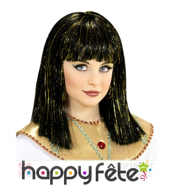 Perruque Cléopâtre pour enfant mèches dorées