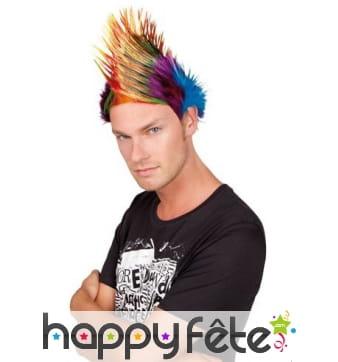 Perruque crête punk multicolore