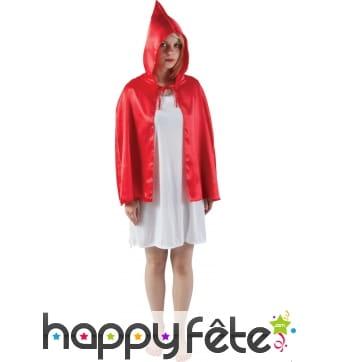 Petite cape rouge avec capuche pour adulte