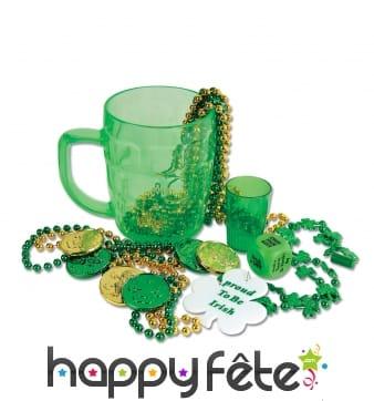 Pack de 6 accessoires st Patrick dans un mug.