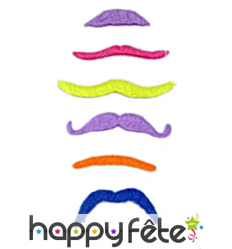 Pack de 6 moustaches fluos assort.
