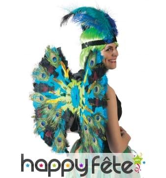 Paire d'ailes décorées de plumes de paon