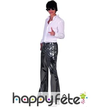 Pantalon disco argenté uni pour homme