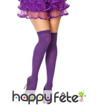 Paire de bas violet opaque autofixant