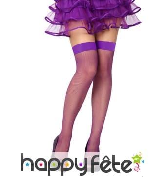 Paire de bas violet résilles fines