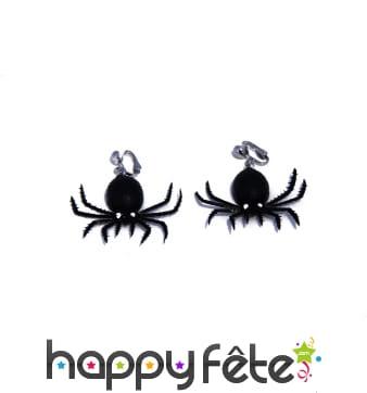 Paire de boucles d'oreilles araignées noires