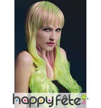 Perruque dégradé blond vert avec frange