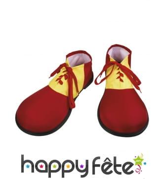 Paire de chaussures clown rouges et jaunes