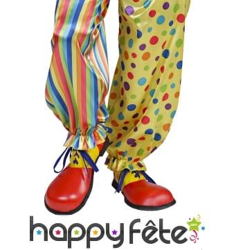 Paire de chaussures de clown jaune et rouge